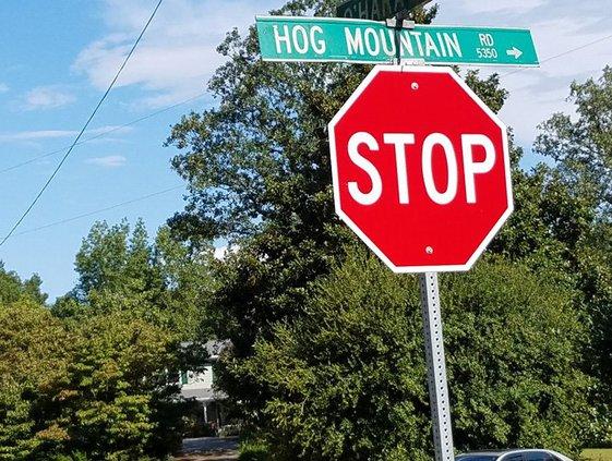 Hog Mountain Road sign